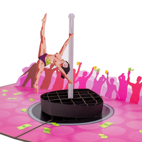 Close up of naked pole-dancer in funny 3D stripper greeting card.