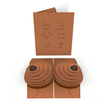 Naughty Knockers Inappropriate 3D Boobs Card (Color Variation: Brown)