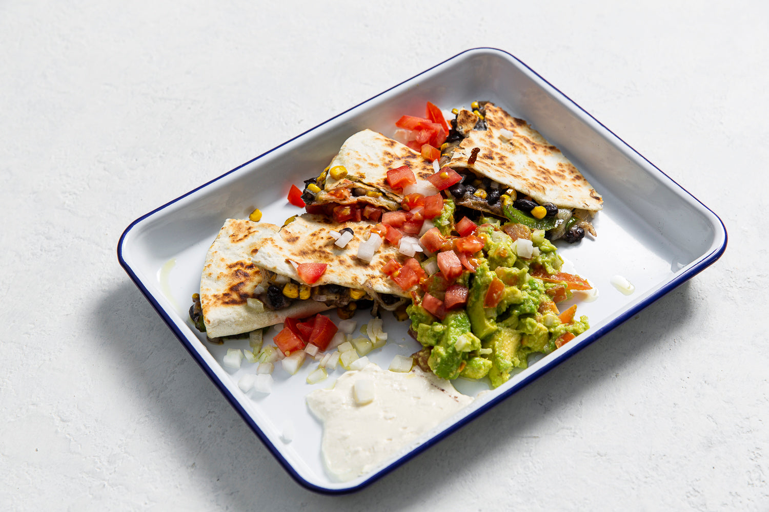 Black bean & corn quesadillas, guacamole