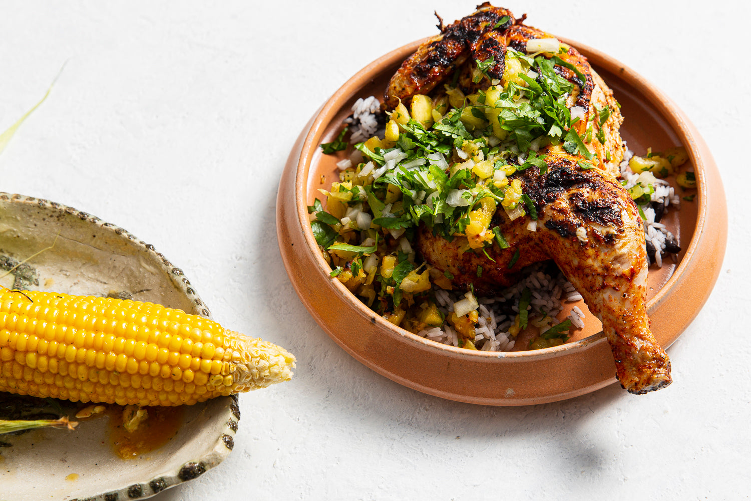 Yucatan Chicken, black beans, rice, pineapple salsa