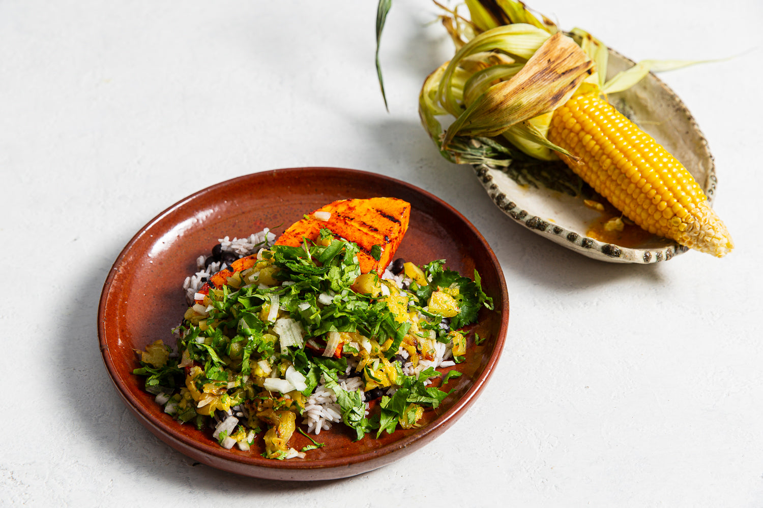 Chargrilled pumpkin, black beans, rice, pineapple salsa