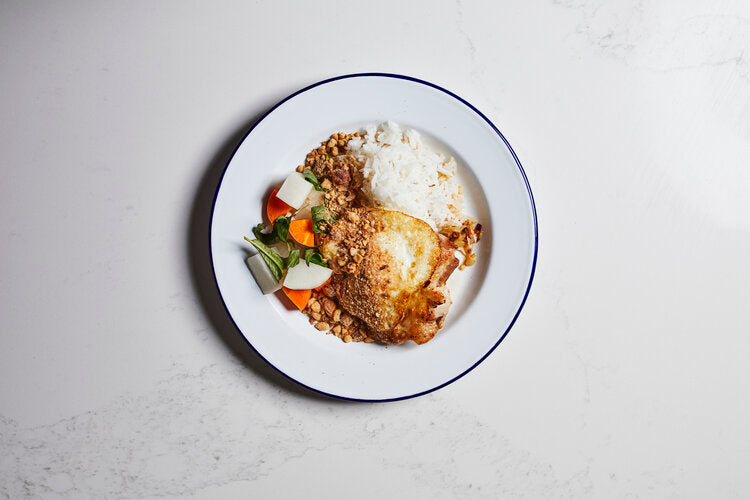 Lemongrass chicken, rice, pickles, peanut crumble
