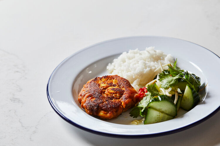 Tumeric fish cakes, cucumber salad, bean sprouts