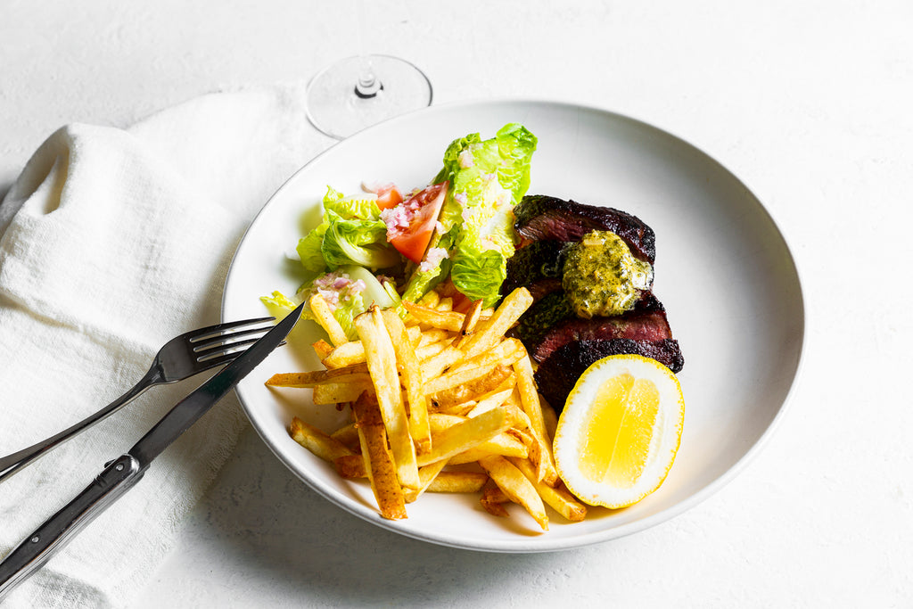 Steak & frites with herb & garlic butter, salad