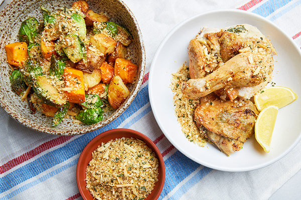 Roast chicken with roast vegetables & sage breadcrumbs