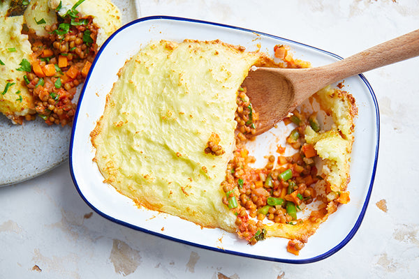 Lentil shepherd's pie with roasted broccoli