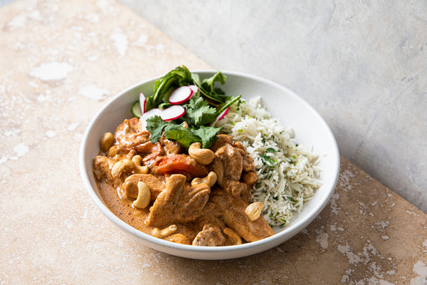 Chicken & cashew korma, coriander rice