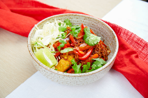 Tofu mie goreng with vegetables, sweet soy & lime