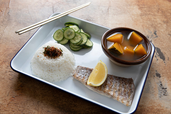 Barramundi shioyaki, miso soup, rice, pickles, dashi pumpkin