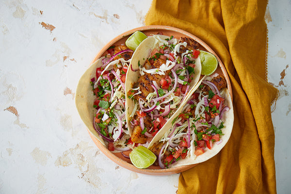 Spiced white fish 'baja' tacos with cabbage slaw & salsa