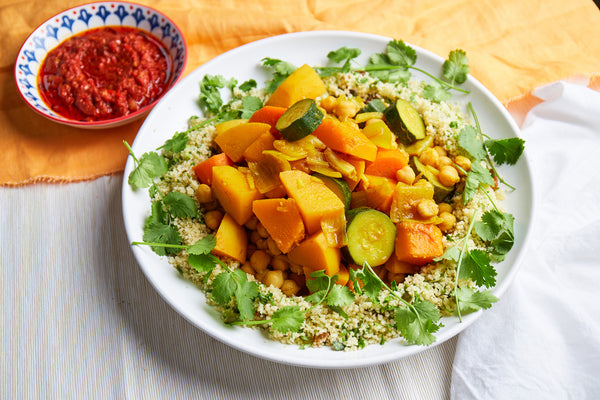 Fragrant seven vegetabes with spiced cous cous