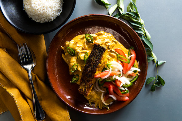 Coconut & turmeric barramundi curry