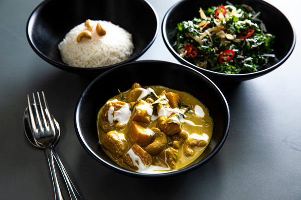 Kale mullung, butternut squash, cashew nut curry