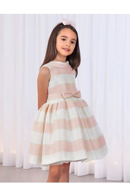 Abel and Lula Pale Rose & Ivory Striped Dress
