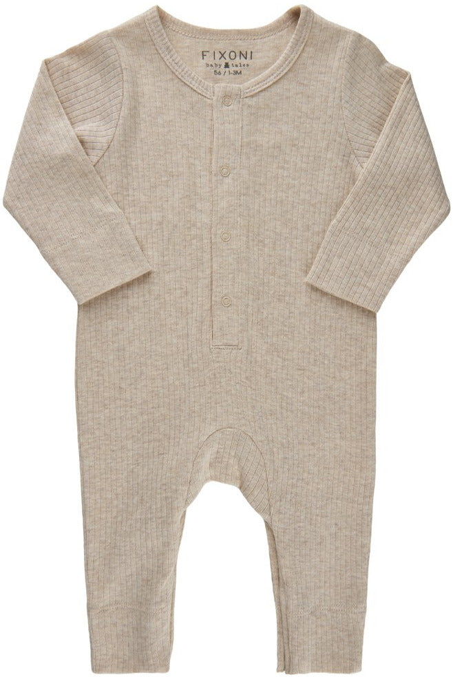 Fixoni Baby Footless Long Sleeve Romper     34218    Tan