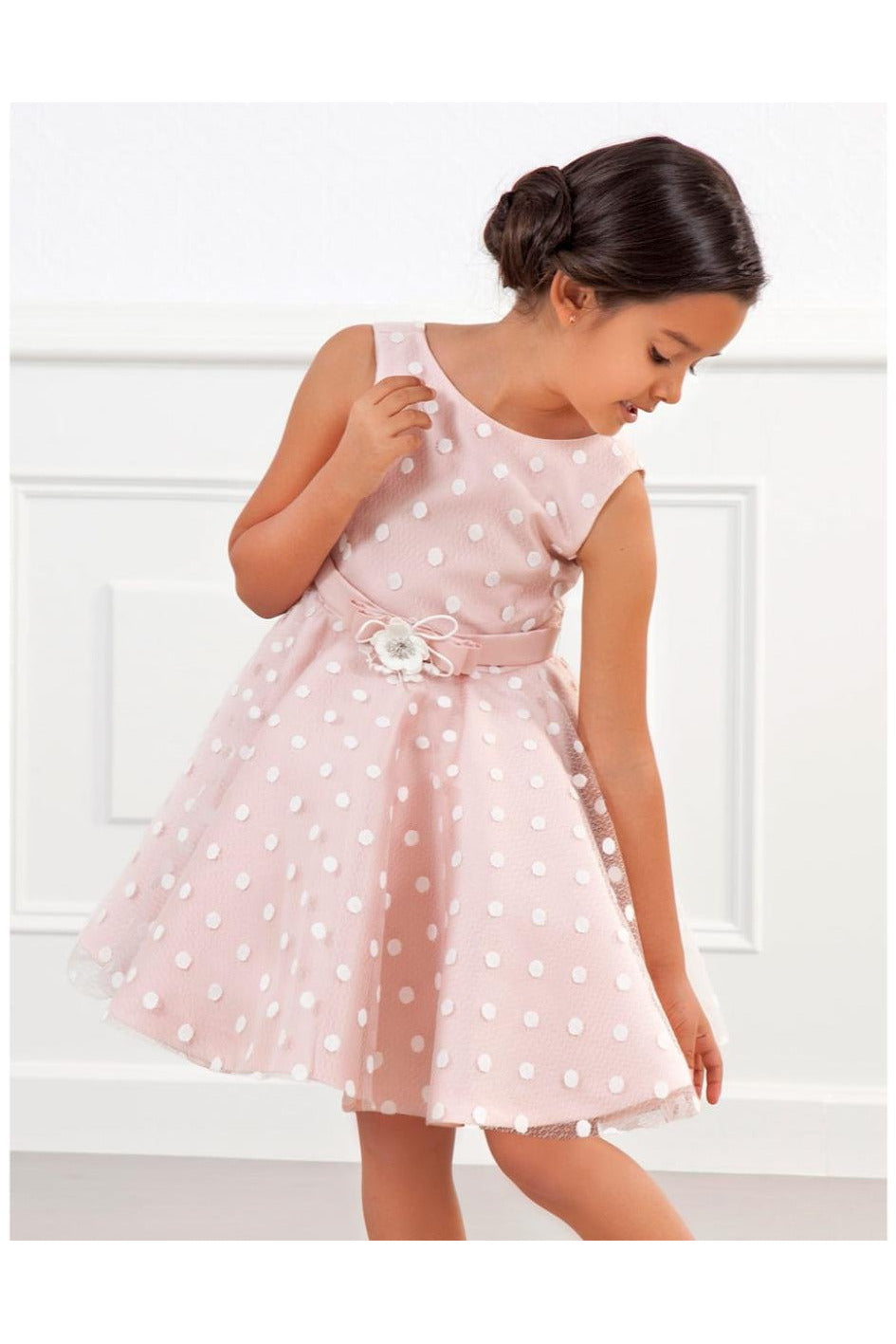 Abel and Lula Pale Rose Polka Dot Dress