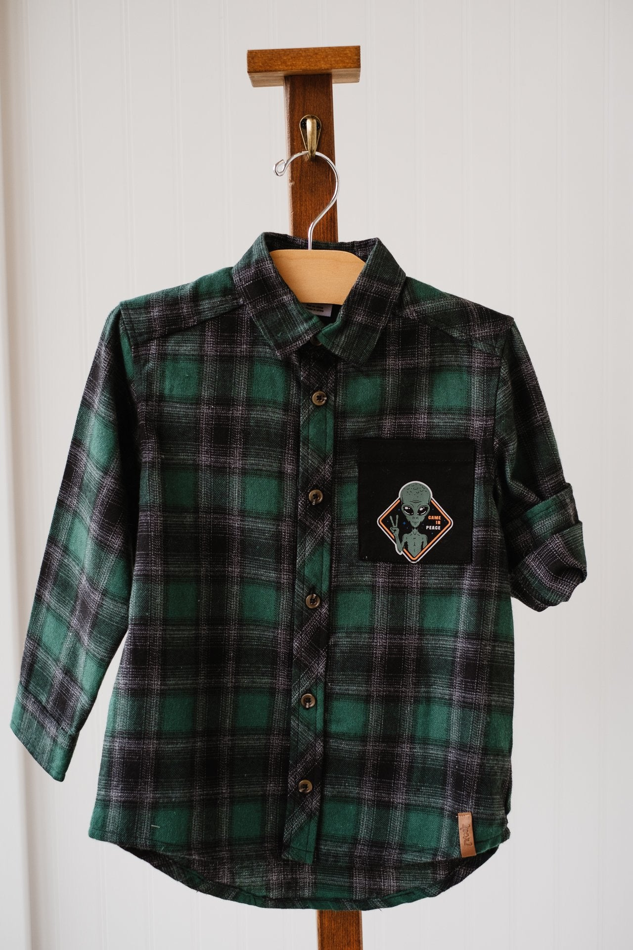 Deux Par Deux Green/Black Plaid Shirt C20U15