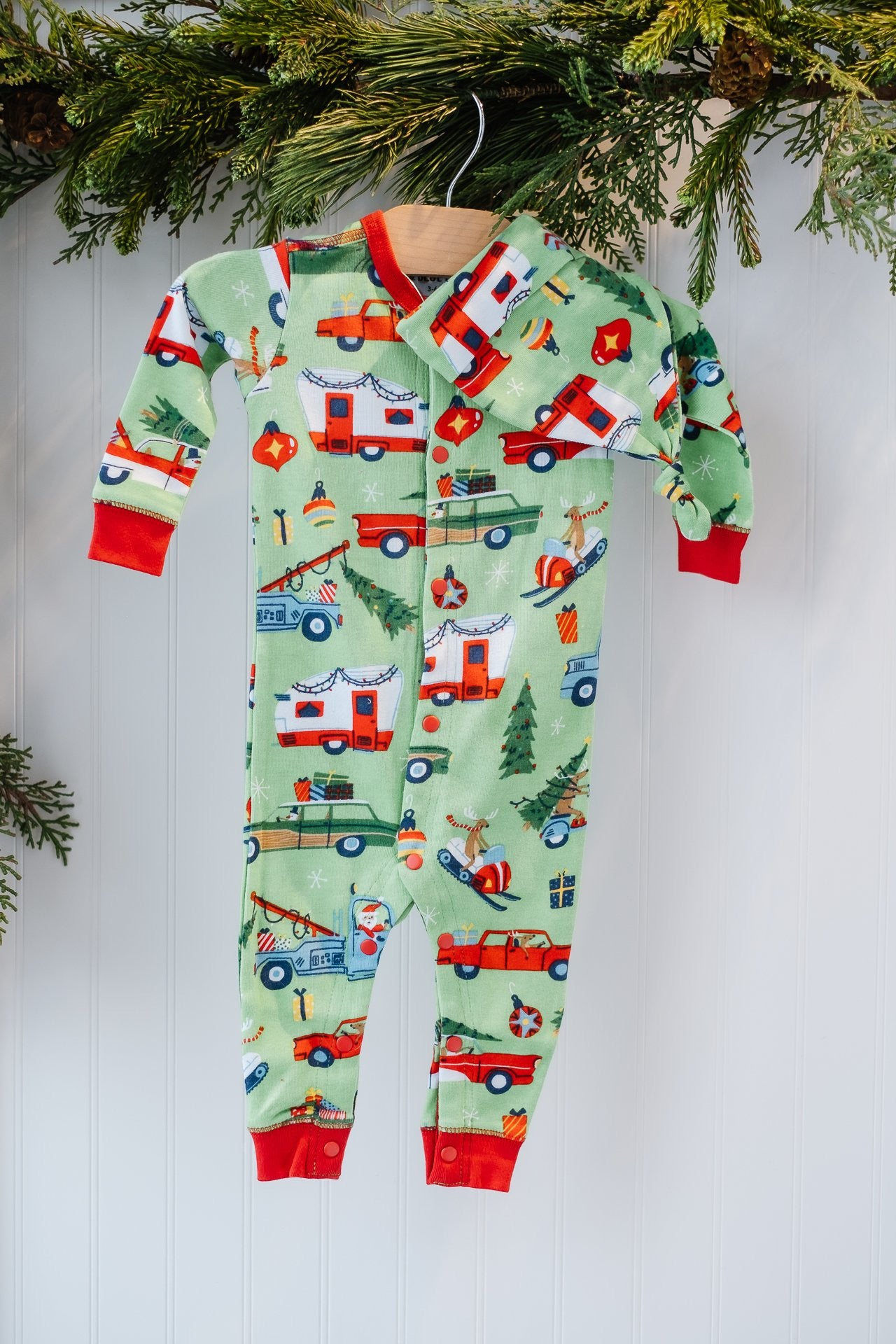 Hatley Baby Coverall and Hat Retro Christmas Green
