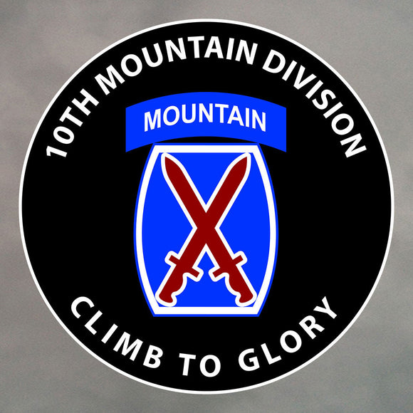 10th MOUNTAIN DIVISION ROUND STICKER 0055