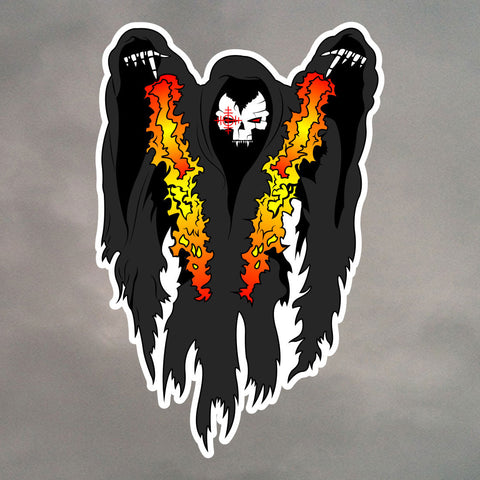 SPOOKY GUNSHIP DIE CUT STICKER 0089