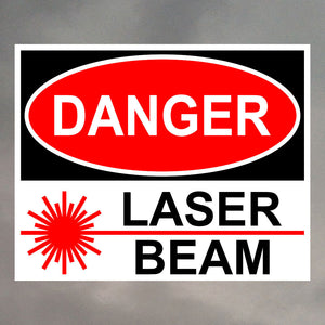 DANGER LASER BEAM RECTANGLE STICKER 1232