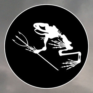 NAVY SEAL FROG SKELETON 2 ROUND STICKERS 1242