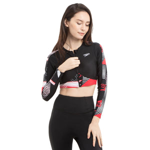 SPEEDO ZIP FRONT CROPPED RASH TOP
