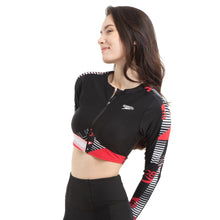 Load image into Gallery viewer, SPEEDO ZIP FRONT CROPPED RASH TOP
