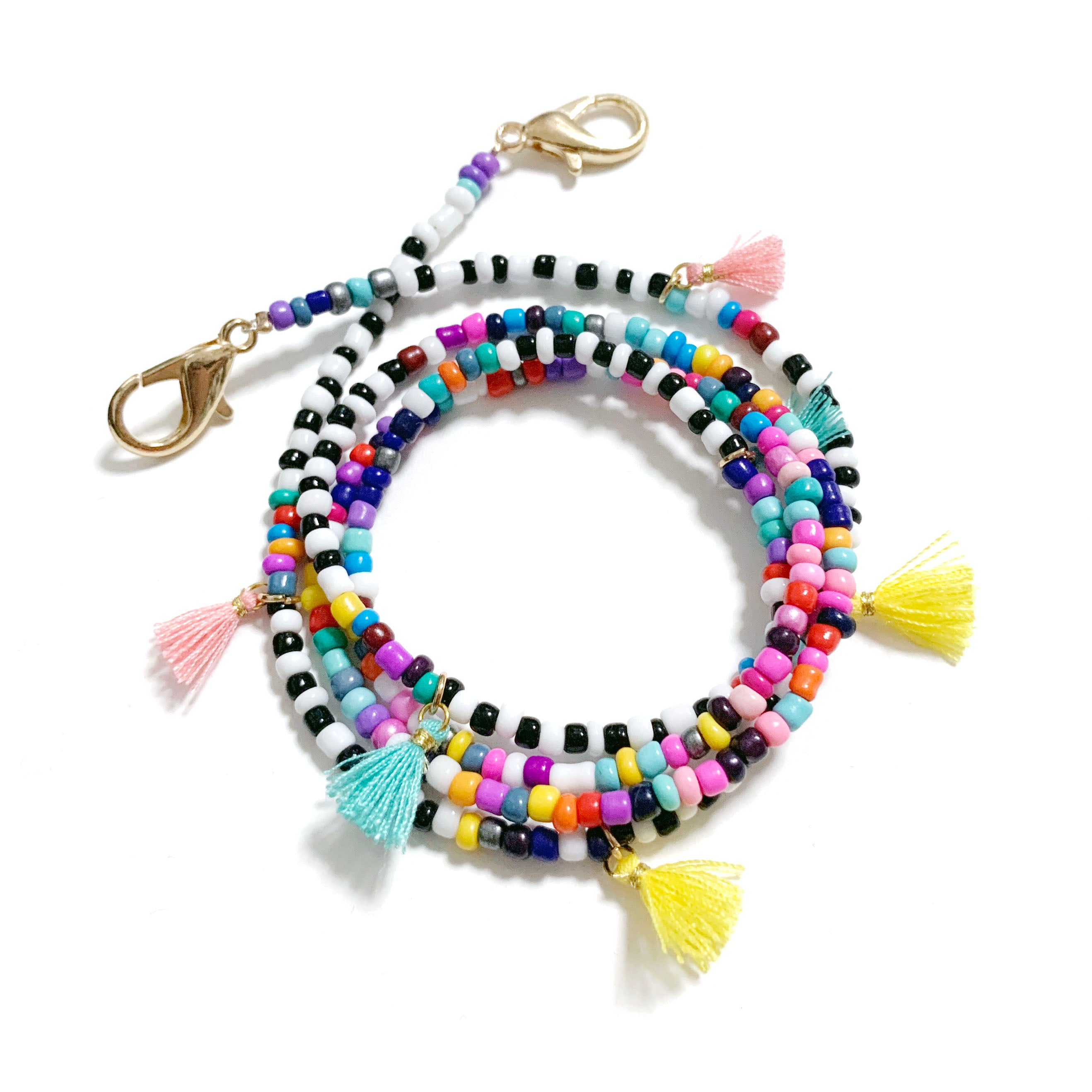 Multicoloured Mini Tassel Beaded Strap