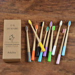 10-Pack Adult Round Colored Handle Bamboo Toothbrush - Color Mix - Savetheearthbrushes