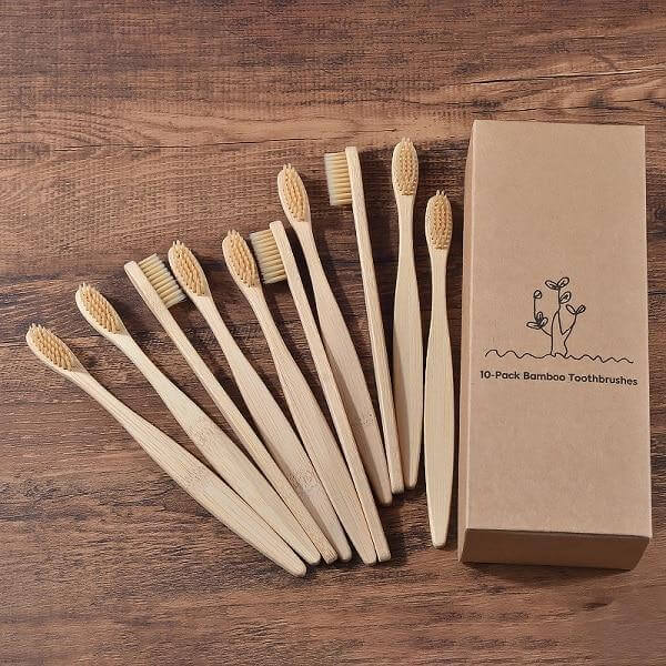 10-Pack Adult Bamboo Toothbrush - Beige - Savetheearthbrushes