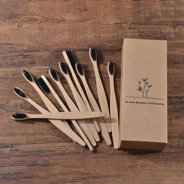 10-Pack Adult Bamboo Toothbrush - Black - Savetheearthbrushes