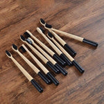 10-Pack Adult Round Colored Handle Bamboo Toothbrush -Black -  Savetheearthbrushes