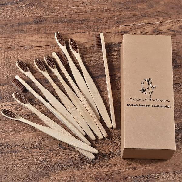 10-Pack Adult Bamboo Toothbrush - Brown - Savetheearthbrushes