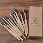 10-Pack Adult Bamboo Toothbrush - Gray Bamboo Charcoal Infused Bristles - Savetheearthbrushes