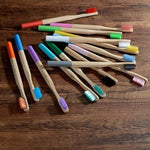 10-Pack Adult Colored Handle Bamboo Toothbrush - Color Mix - Savetheearthbrushes