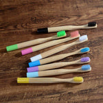 10-Pack Kids Colored Handle Bamboo Toothbrush - Color Mix - Savetheearthbrushes