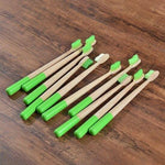 10-Pack Adult Round Colored Handle Bamboo Toothbrush - Green - Savetheearthbrushes
