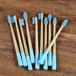 10-Pack Adult Round Colored Handle Bamboo Toothbrush - Light Blue - Savetheearthbrushes