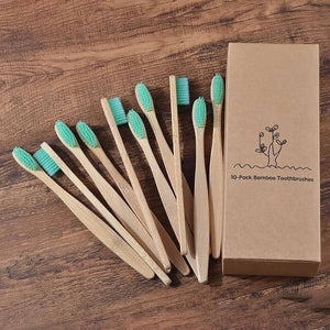 10-Pack Adult Bamboo Toothbrush - Mint Green - Savetheearthbrushes