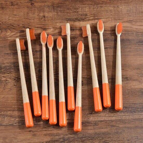 10-Pack Adult Round Colored Handle Bamboo Toothbrush - Orange - Savetheearthbrushes