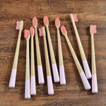 10-Pack Adult Round Colored Handle Bamboo Toothbrush - Pink - Savetheearthbrushes