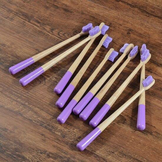 10-Pack Adult Round Colored Handle Bamboo Toothbrush - Purple - Savetheearthbrushes