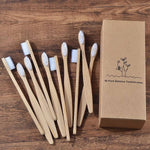 10-Pack Adult Bamboo Toothbrush - White - Savetheearthbrushes