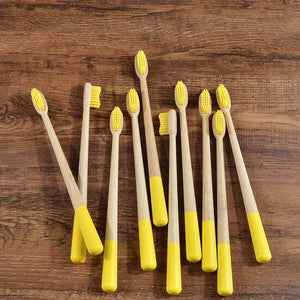 10-Pack Adult Round Colored Handle Bamboo Toothbrush - Yellow - Savetheearthbrushes