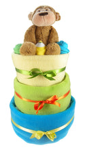 Load image into Gallery viewer, Bright 3 Tier Baby Boy Nappy Cake - Say It Baby