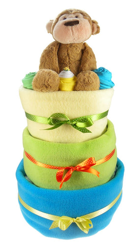 Bright 3 Tier Baby Boy Nappy Cake - Say It Baby