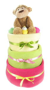 Bright 3 Tier Baby Girl Nappy Cake - Say It Baby