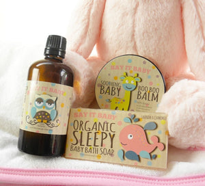 This lovely baby girl basket has everything needed to make baby bath time a pleasure! With special natural bath time products including Lavender & Chamomile Soap Bar and Deep Sleep Baby Bath & Massage oil, baby will be soothed and cleansed.This basket also contains a special 100% natural Boo Boo Balm, a soft hooded bath towel and a gorgeous fluffy bunny soft toy. A special gift for baby and new mum to enjoy together.