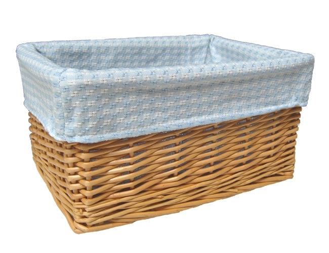 Baby Boy Basket - Natural wicker gift basket with blue and white gingham lining.